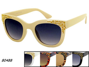 Womens Wholesale Rhinestone Trendy Cat Eye Lens Plastic Sunglasses 1 Dozen 80488