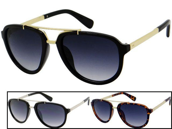Womens Wholesale Metal/Plastic Frame Fashionable Aviator Sunglasses 1 Dozen 80587 - BuyWholesaleSunglasses.com