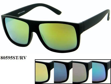 Unisex Wholesale Trendy All Black Wayfarer Revo Lens Sunglasses 1 Dozen 80595ST/RV - BuyWholesaleSunglasses.com