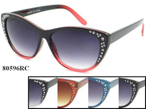 Womens Wholesale Rhinestone Cat Eye Lens Two Toned Frame Sunglasses 1 Dozen 80596RC - BuyWholesaleSunglasses.com