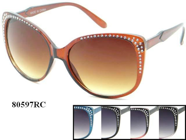 Womens Wholesale Oversized Lens Rhinestone Cat Eye Sunglasses 1 Dozen 80597RC - BuyWholesaleSunglasses.com
