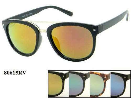 Womens Wholesale Trendy Brow Bar Revo Lens Plastic Frame Sunglasses 1 Dozen 80615RV - BuyWholesaleSunglasses.com