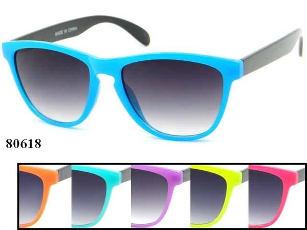 Unisex Wholesale Two Toned Fashionable Colorful Wayfarer Sunglasses 1 Dozen 80618 - BuyWholesaleSunglasses.com