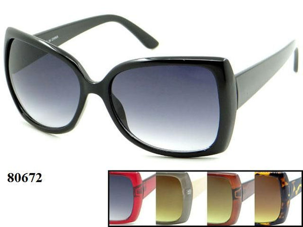 Womens Wholesale Big Lens Fashionable Assorted Color Sunglasses 1 Dozen 80672 - BuyWholesaleSunglasses.com