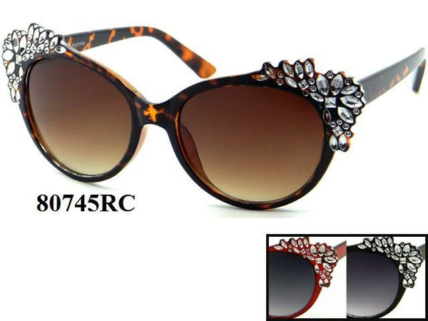 Womens Wholesale Vintage Cateye With Stones Sunglasses 1 Dozen 80745RC - BuyWholesaleSunglasses.com
