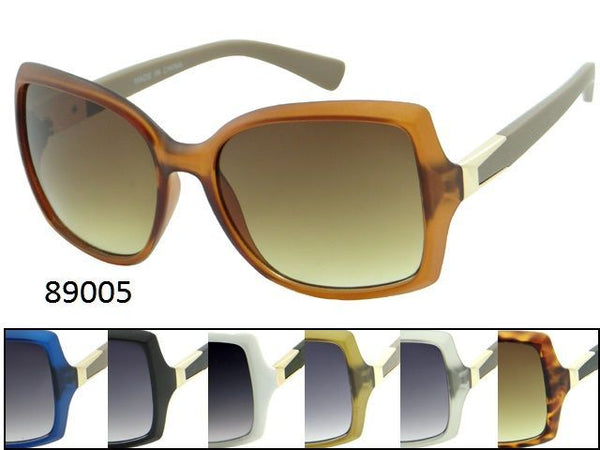 Womens Wholesale Trendy Oversized Lens Assorted Color Plastic Frame Sunglasses 1 Dozen 89005 - BuyWholesaleSunglasses.com