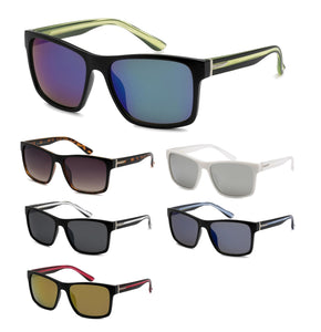 Unisex Wholesale Trendy Temple Wayfarer Plastic Sunglasses 1 Dozen 8BZ66203