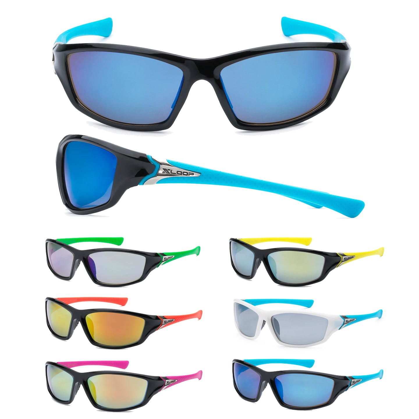 Mens Wholesale Wrap Sport Revo Lens Two Toned Frame Sunglasses 1 Dozen 8X2420 - BuyWholesaleSunglasses.com