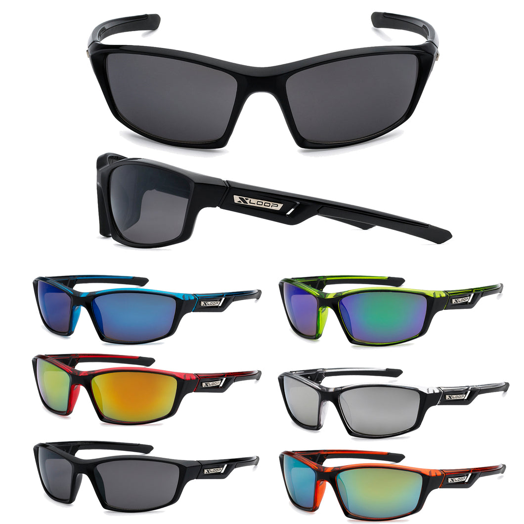 Mens Wholesale Sport Wrap Revo Lens Xloop Sunglasses 1 Dozen 8X2446