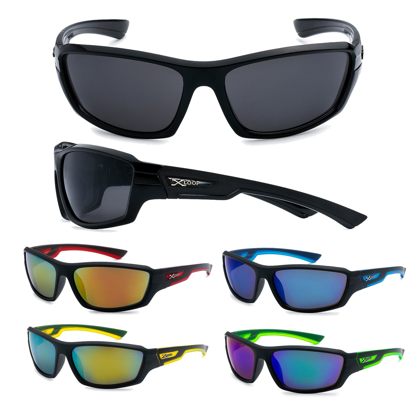 Mens Wholesale Xloop Revo Lens Sports Wrap Sunglasses 1 Dozen 8X2449 - BuyWholesaleSunglasses.com