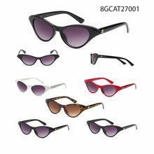 Women's Wholesale Trendy Cat Eyed Plastic Frame Sunglasses 1 Dozen 8GCAT27001 - BuyWholesaleSunglasses.com