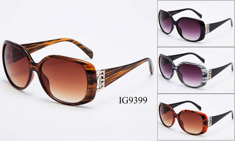 Womens Wholesale Trendy Tortoise Shell/ Wood grain Frames Plastic Sunglasses 1 Dozen IG9399 - BuyWholesaleSunglasses.com