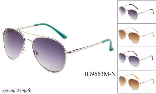 Unisex Wholesale Fashionable Metal Aviators Sunglasses 1 Dozen IG9563M-N - BuyWholesaleSunglasses.com
