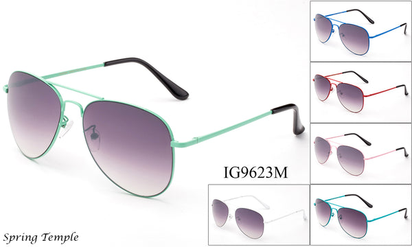 Unisex Wholesale Colored Metal Frame Aviator Sunglasses 1 Dozen IG9623M - BuyWholesaleSunglasses.com