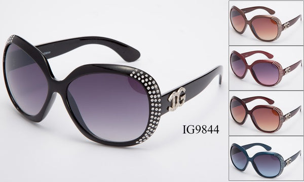 Womens Wholesale Fashionable Big Lens Rhinestone Sunglasses 1 Dozen IG9844 - BuyWholesaleSunglasses.com