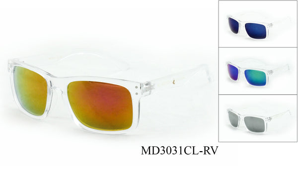 Unisex Wholesale Clear Frame Wayfarer Sunglasses 1 Dozen MD3031CL-RV - BuyWholesaleSunglasses.com
