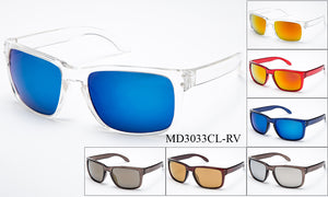 Unisex Wholesale Fashionable Wayfarer Sunglasses 1 Dozen D3033CL-RV - BuyWholesaleSunglasses.com