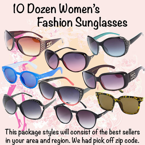 10 Dozen Fashion Sunglasses - Hot Sellers Assortment Start Up Package 120 Pairs - BuyWholesaleSunglasses.com