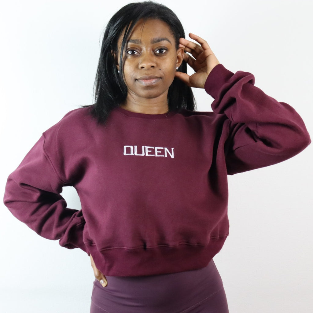 Queen Cropped Sweatshirt - Burgundy