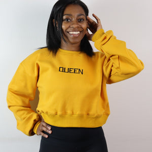Queen Cropped Sweatshirt - Mustard Seed