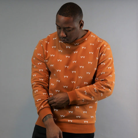 Crowns All Over Crewneck - Rust