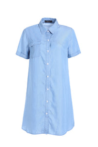 TENCEL SHORT SLEEVE SHIRT DRESS - ELLY M Australia
