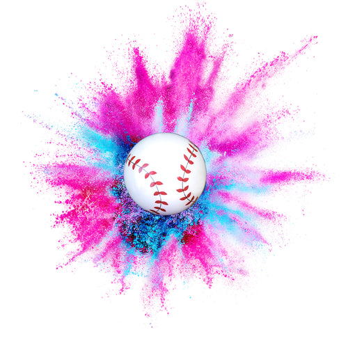 poof! of pink or blue gender reveal baseball with non-toxic powder