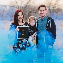 Load image into Gallery viewer, blue gender reveal smoke bomb for gender reveal photos