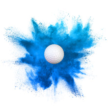 Load image into Gallery viewer, poof! of blue colored powder coming out of gender reveal golf ball
