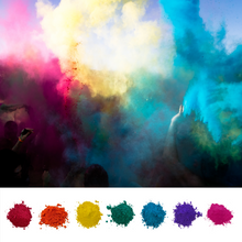 Load image into Gallery viewer, Holi Color Festival Chalk Party. Colored powder available in multiple sizes in red, orange, yellow, green, blue, purple pink