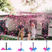 Load image into Gallery viewer, Gender Reveal Cannons, AKA Party Poppers filled with confetti, powder, or both. Pink or blue