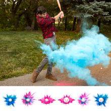 Load image into Gallery viewer, man hitting gender reveal baseball exploding with bright blue colored powder. gender reveal baseaballs and golf balls, available in pink or blue
