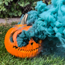 Load image into Gallery viewer, smoking pumpkin made with neon smoke balls. 6 pack comes with 1 of each color: orange, yellow, green, purple, black, white