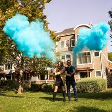 Load image into Gallery viewer, blue powder smoke gender reveal cannon discreet boy