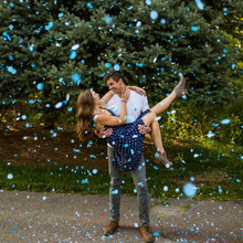 Load image into Gallery viewer, blue confetti popper gender reveal confetti cannon boy biodegradable