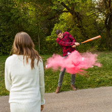 Load image into Gallery viewer, Gender reveal sports ideas pink color powder gender reveal baseball girl