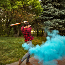 Load image into Gallery viewer, blue gender reveal baseball gender reveal sports boy blue color powder poof!