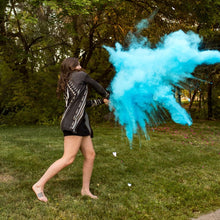 Load image into Gallery viewer, blue holi color powder gender reveal sports tee up baseball boy poof!