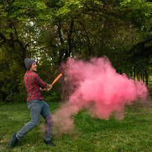 Load image into Gallery viewer, pink powder smoke cloud gender reveal sports poof! it's a girl, pink holi colour powder