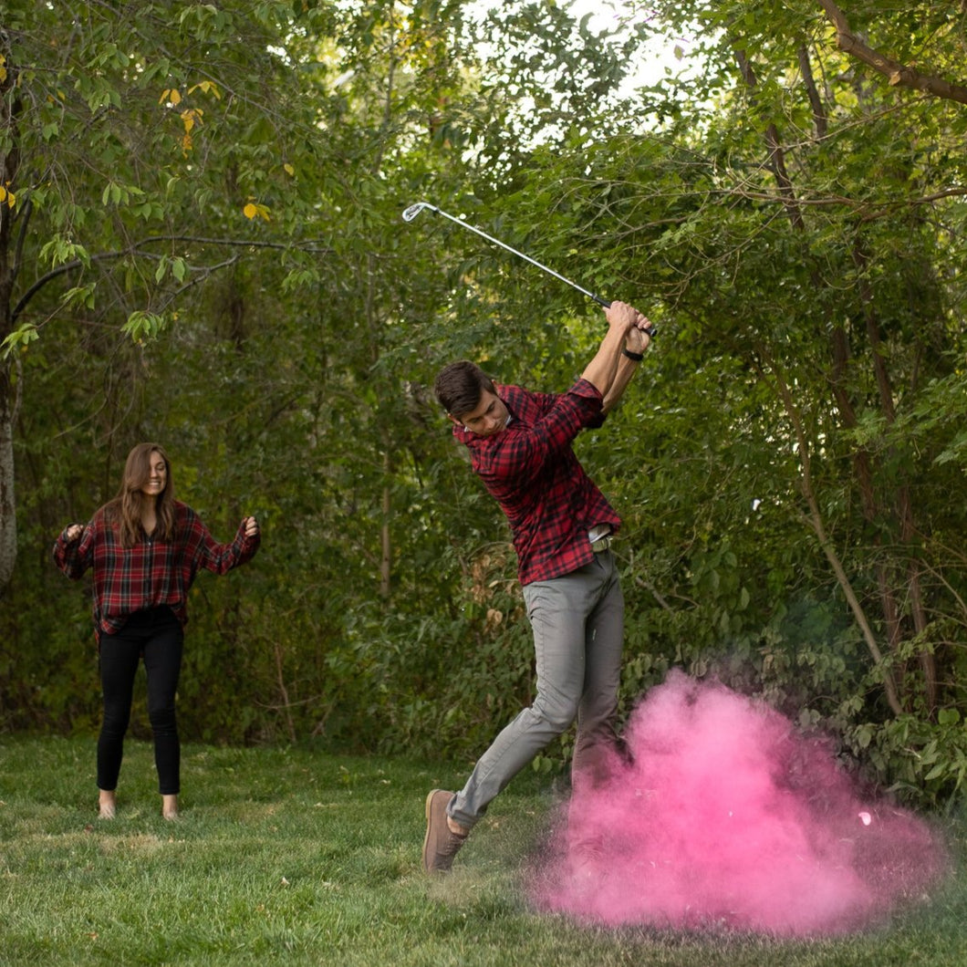 pink gender reveal sports golf ball with colored powder