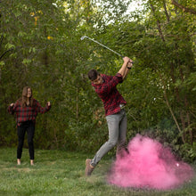 Load image into Gallery viewer, POOF! It's a girl! Pink gender reveal golf ball 2 pack tee up pink color powder