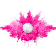 Load image into Gallery viewer, poof! of pink colored powder coming out of gender reveal golf ball