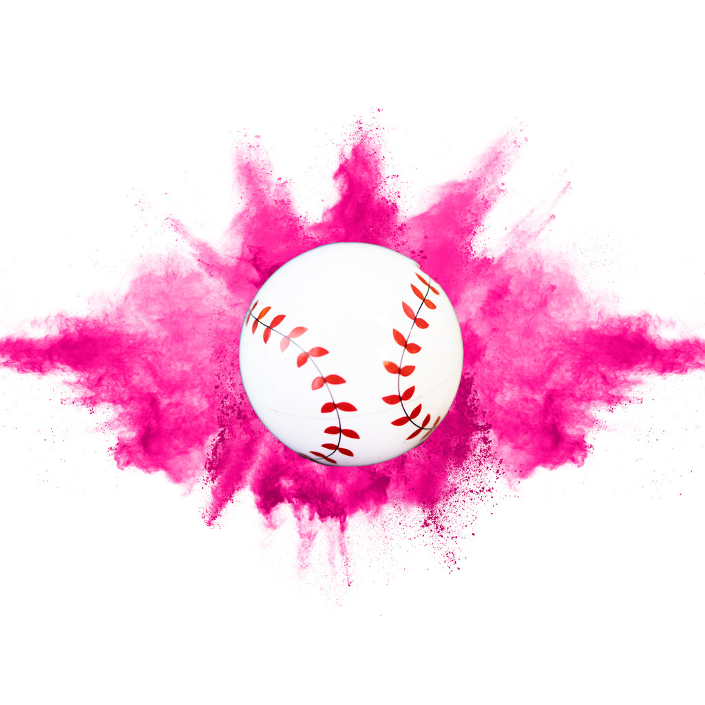 pink powder gender reveal sports baseball tee up it's a girl