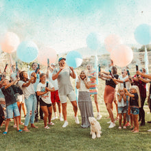 Load image into Gallery viewer, gender reveal mixed cannon with discreet labels, pink or blue with powder and confetti