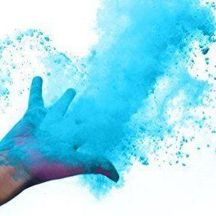 blue holi color powder gender reveal