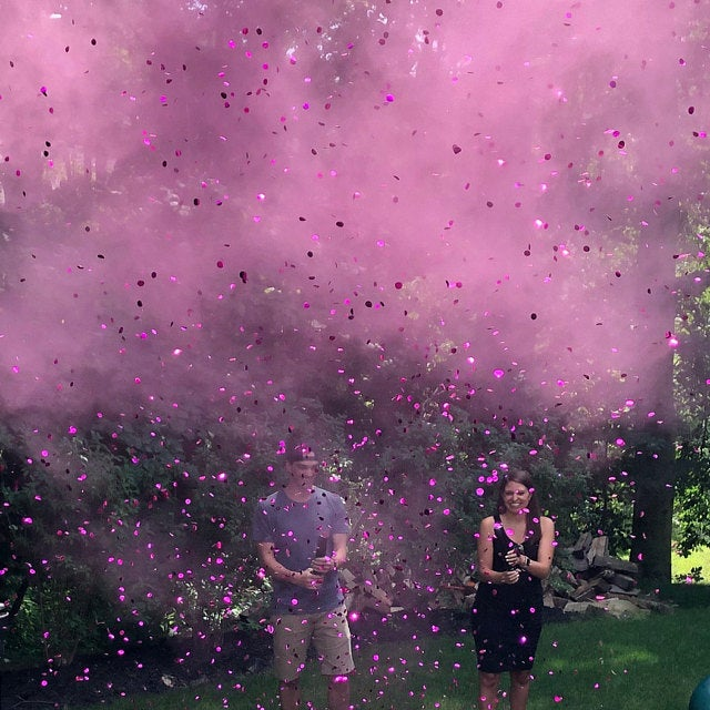 pink gender reveal party cannon powder confetti both