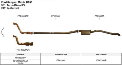 King Brown Exhaust System: Ford Ranger BT50 06-11 D/C UTE 3.0L T/D W/CAT