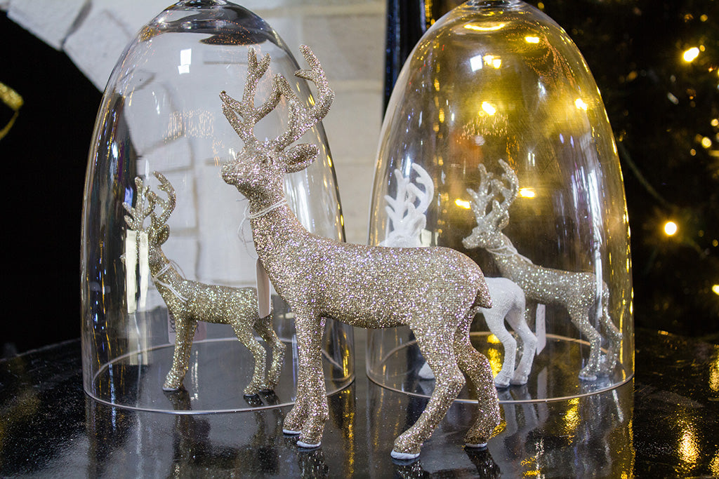 deer and Christmas decorations