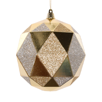 12cm Triangle Ball - Shiny Gold & Glitter