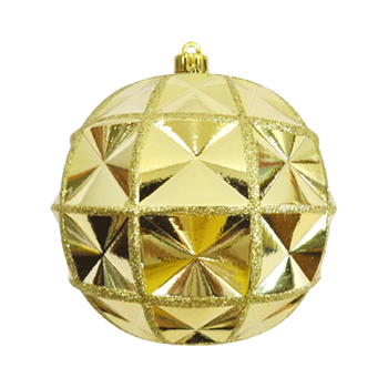 Crystal Bauble Shiny Gold with Glitter Gold 12cm